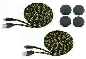 PS4-Thumb-Grips-2x-Micro-USB-Datenkabel-Controller-Ladekabel-3-Meter-fuer-PS4