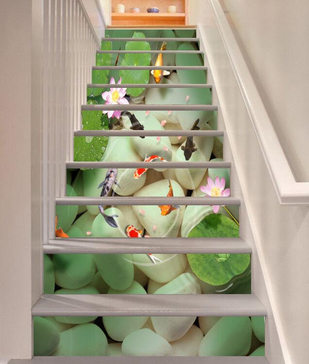 3D fish pebble flower Risers Decoration Photo Mural Vinyl Decal Wallpaper CA