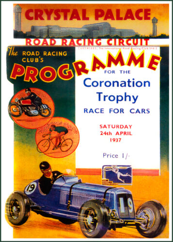 Crystal Palace 1937 Coronation Trophy race poster print A3