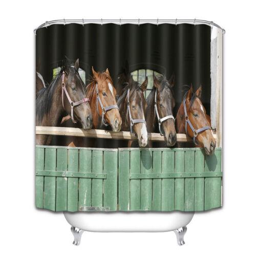 Rustic Horse Wood Stable Door Shower Curtain Bathroom Waterproof Fabric Hook Set