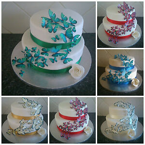 Wedding Cake Toppers Edible Butterfly Decorations MULTIPLE COLOURS ...