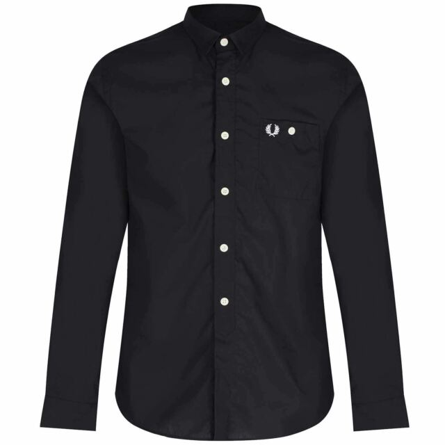 FRED PERRY CONCEALED LONG SLEEVE SHIRT CLASSIC MOD BLACK CASUALS SMART S-XXL