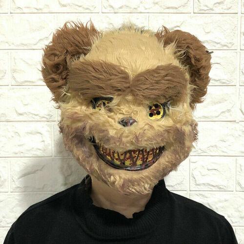 Adult Fluffy Brown Bear Mask Halloween Horror Zombie Fancy Dress Accessory Purge