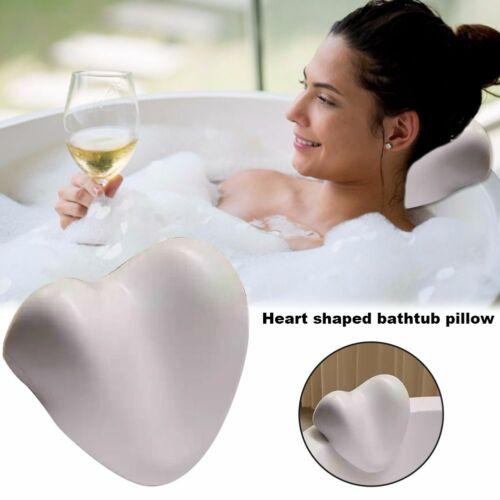 Heart Shape Bathtub Cushion Pad Spa Head Rest Neck Support Pillow Bath Accessory