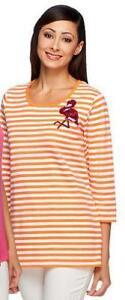 Quacker-Factory-Size-1X-Orange-Stripe-w-Flamingo-Summertime-T-shirt