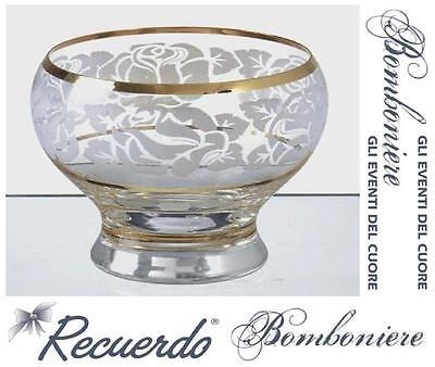 BOMBONIERA Made in Italy COPPA in FINE CRISTALLO INCISO e ORO ZECCHINO PR4864