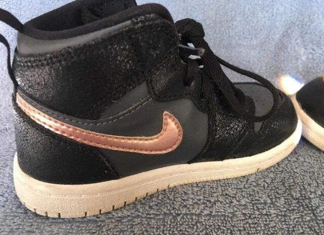 best sneakers 85648 4afa3 Nike Air Jordan 1 Retro High BT Black Metallic Red Bronze Grey Toddler 8C