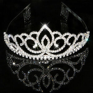 Rhinestone-Bridal-Wedding-Crystal-Hair-Crown-Headband-Tiara-Prom-Comb-Pageants-w