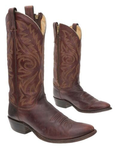 JUSTIN Cowboy Boots 8.5 D Mens Leather Western Rod