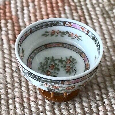 Miniature Dollhouse Vtg Bespaq Porcelain Asian Floral Bowl On Stand 1126
