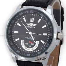 WINNER Automatic Mechanical Date Dress Men's Black Leather Wrist Watch Fast Ship