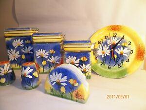 MCM-Ceramic-Daisy-Sponge-Paint-7-Piece-Kitchen-Canister-Container-Jar-Set-Retro