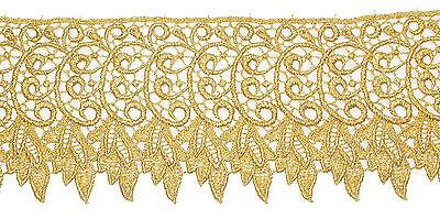 "83mm 3.1//4/"" Depth Metallic Gold Patterned Venise Lace Trim x 1yd"