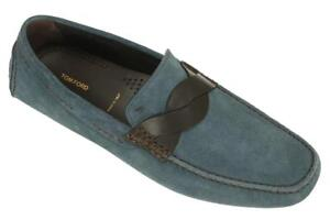 NEW-TOM-FORD-CURRENT-SAMUEL-BLUE-SUEDE-LOAFERS-DRIVER-MOCCASINS-SHOES-10-5
