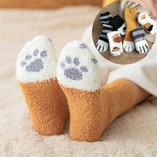 Women Cute Cat Claws Plush Fuzzy Coral Fleece Soft Floor Slippers Indoor Socks
