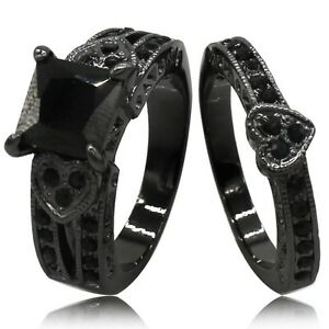 sz 4 12 black gold onyx princess cut cz wedding engagement