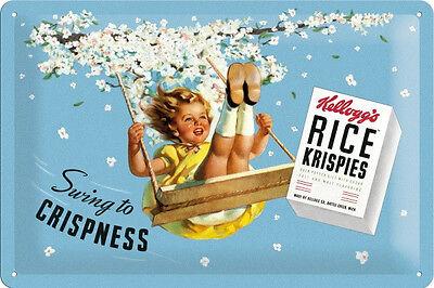 Kelloggs Rice Krispies Blechschild Schild Blech Metall Metal Tin Sign 20 x 30 cm