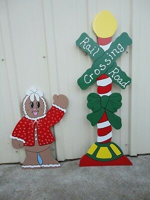 GINGERBREAD RAILROAD CROSSING ~ 2pc Christmas Yard Art