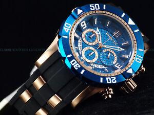 New-Invicta-Mens-50mm-L-E-JT-Pro-Diver-Chronograph-18K-Rose-Gold-Blue-Dial-Watch