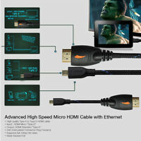 Black 3ft 6ft 10ft 15ft Hdmi To Micro Hdmi Male Cable V1.4 1080p Cord Connector