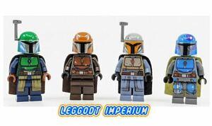Lego-Minifigure-Star-Wars-Mandalorian-Warrior-green-grey-orange-blue-Disney