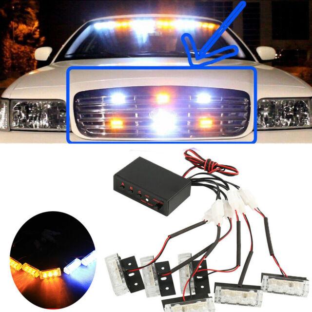 Vehicle Strobe Lights >> Amber And White 18 X Led Emergency Vehicle Strobe Lights For Front Grille Deck