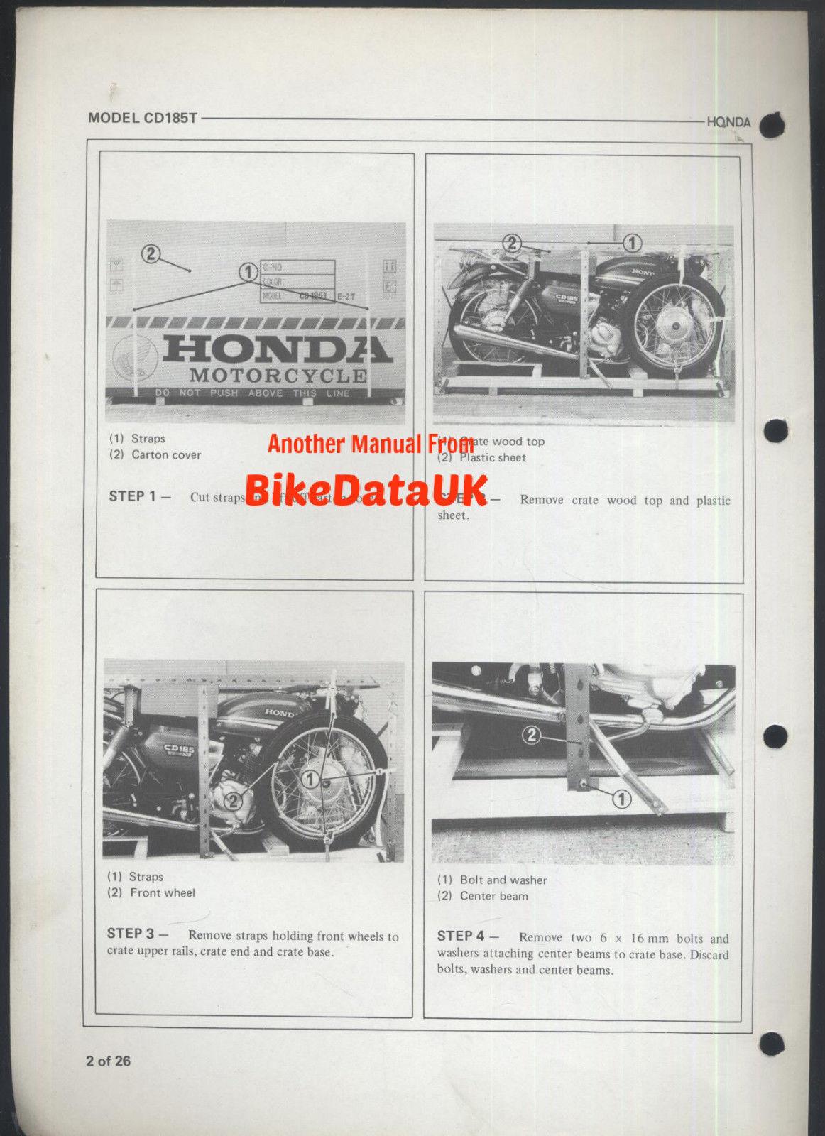 Factory Dealer PDI Set-Up Manual CD 185 T Twin CS92 Honda CD185T Benly 1978 />/>