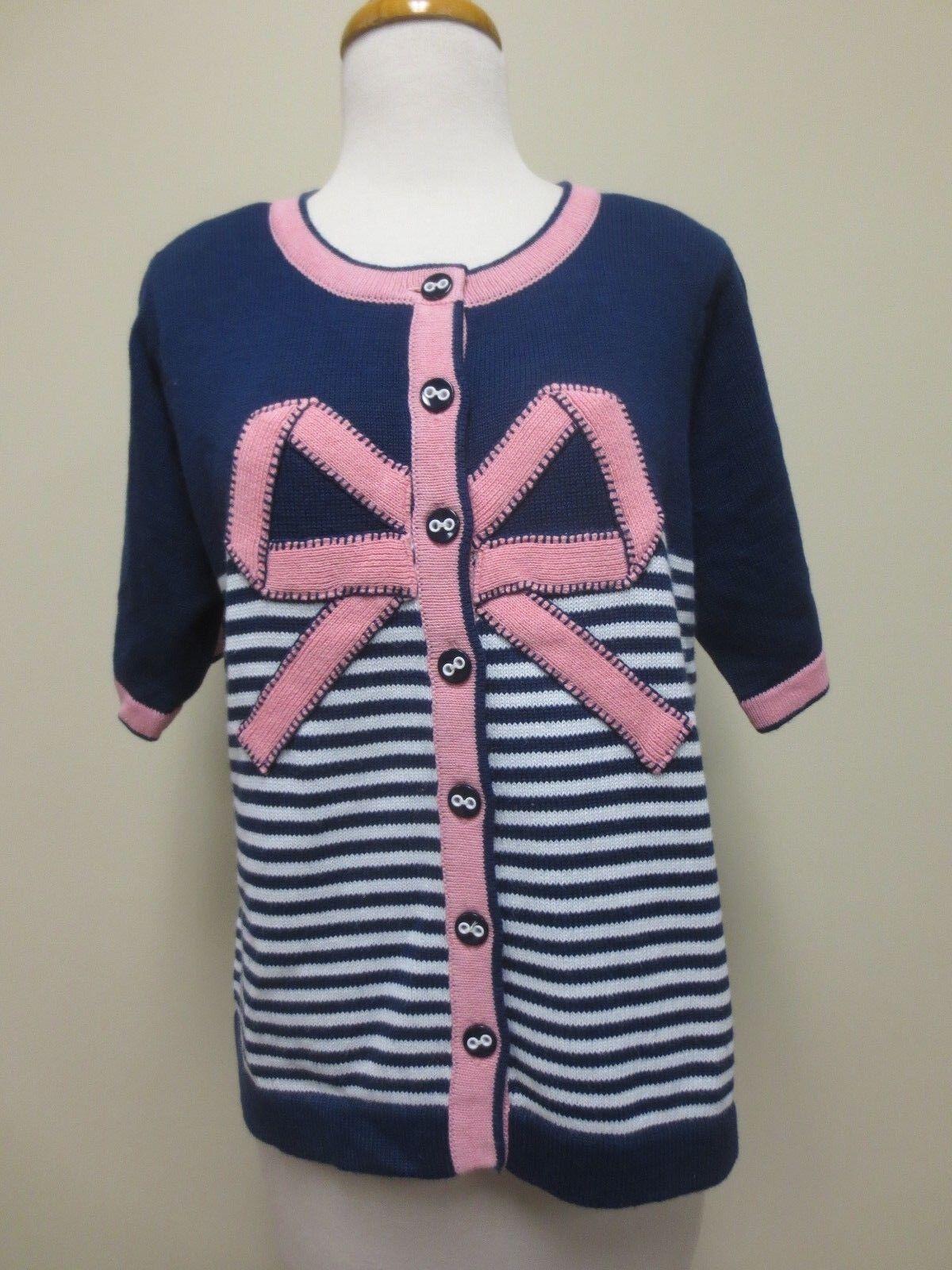 Design Options Philip and Jane Gordon Nautical Bow Cardigan Sweater Medium NEW