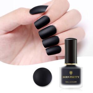 BORN PRETTY 6ml Matte Nail Polish Black Nails Varnish Matte Series ...