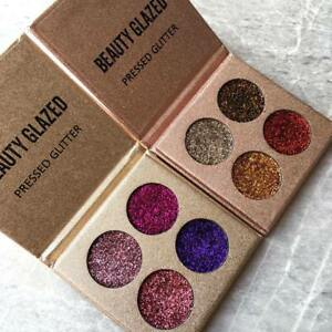 4 Color Pressed Glitter Palette Plum Or Rose Gold