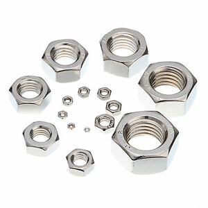 Metric Hexagonal Hex Full Nuts A2 Stainless Steel M20 20mm Pack of 1 nuts