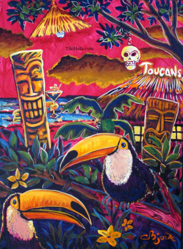 Toucans Tiki Island Hut Hula Hawaiian Tropical Kitsch Birds Art CBjork PRINT