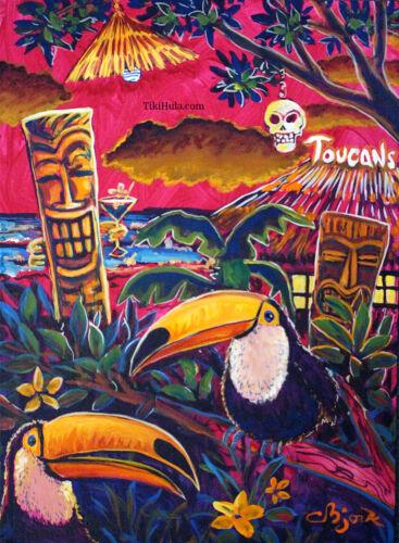 Toucans Tiki Island Hut Hula Hawaiian Tropical Kitsch Birds Art CBjork PRINT
