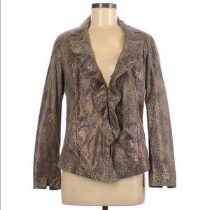 Chicos Women Coated Jacket Size 1 Medium Snake Print Ruffle V Neck Long Sleeve