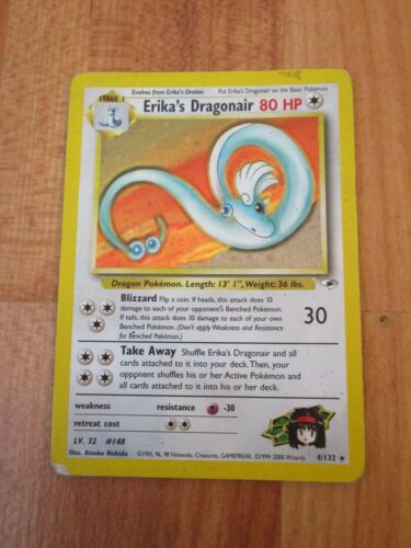 Details about  /RARE HOLO ERIKA/'S DRAGONAIR 4//132 ORIGINAL GYM HEROES SET POKEMON CARD WOTC USED