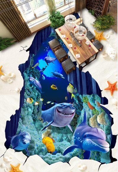 3D beach fish sea 8304 Floor WallPaper Murals Wall Print Decal 5D AJ WALLPAPER