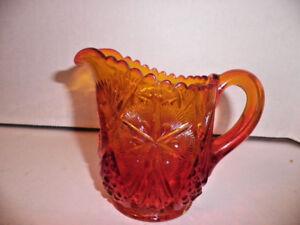 Amberina-Pressed-Glass-Creamer-Red-Gold-Hobstar-Mint