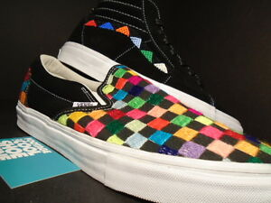 6a303504d16 2014 VANS CLASSIC SLIP ON + SK8 HI XL HUICHOL BLACK WHITE RAINBOW ...