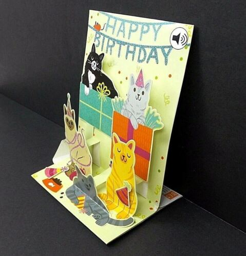 Feline Birthday Greeting Card 3D Pop Up With Sound Effects Happy