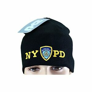 NYPD No Fold Winter Hat Beanie Skull Cap Officially Licensed Black ... 123dab29d53f