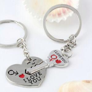 Porte-Cle-Couple-Coeur-034-I-love-You-034-2-Porte-Clef-idee-cadeau-Couleur-Argente