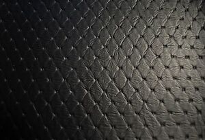 Vinyl Fabric Black Embossed Grain Stitch Diamond Marine