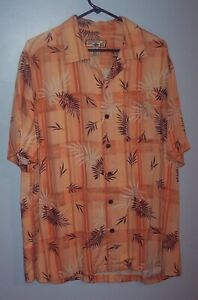 Caribbean-Joe-Mens-L-Large-Orange-Floral-Vacation-Dress-Shirt-Rayon-GUC