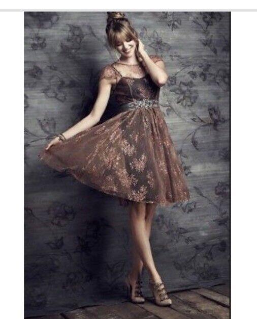 ANTHROPOLOGIE Honeyed Copper Lace Dress by Moulinette Soeurs Größe 8