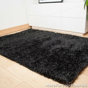 Grey black thick shaggy rug thick pile soft touch for Cheap good quality rugs