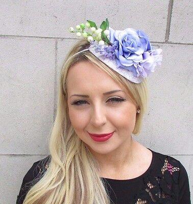 Lavender Light Purple Rose Flower Fascinator Headband Floral Lilac Races 6420