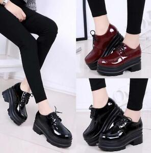 women's chunky casual patent leather platform lace up