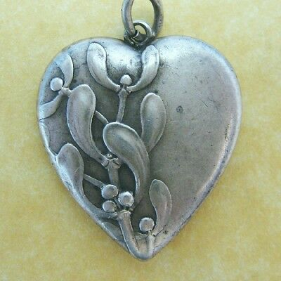 Antique French Art Nouveau Silver Puffy Heart Charm Pendant Lucky Mistletoe