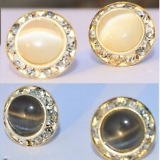 ||SALE||~ COMBO(BLACK+WHITE) Cat Eye Stone Round Crystal Stud Top Earrings