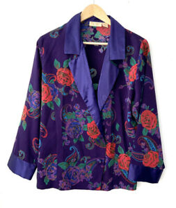 Vintage Pajama silk two piece floral S